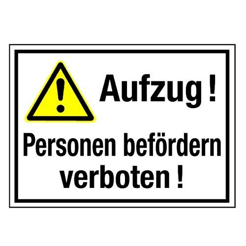 Aufzug! Personen befördern verboten! (mit Symbol W001)