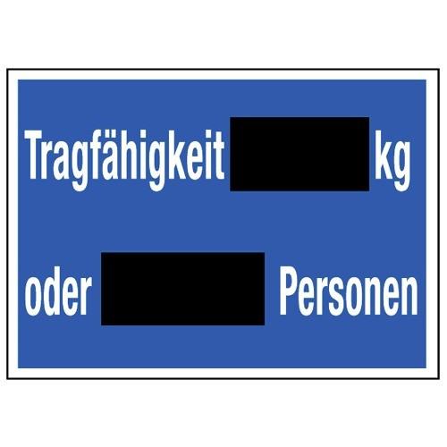 Tragfähigkeit … kg oder … Personen (Schultafellack)