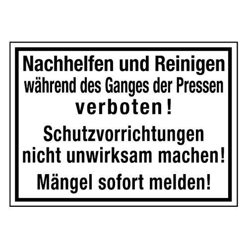 Nachhelfen und Reinigen während des Ganges der Pressen verboten! Schutzvorrichtungen nicht unwirksam machen! Mängel sofort...