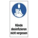 """Kombischild """"Hände desinfizieren nicht vergessen"""""""