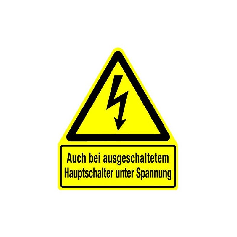 Auch bei ausgeschaltetem Hauptschalter unter Spannung (mit Symbol W012)