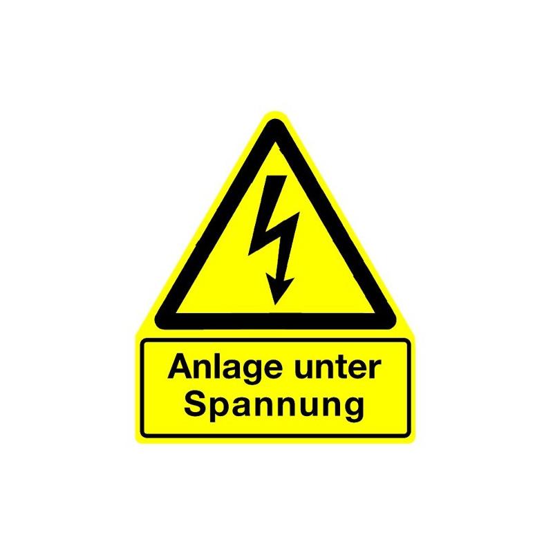 Hinweisschild Anlage unter Spannung (mit Symbol W012)