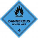 Gefahrgut-Aufkleber Klasse 4.3: Stoffe, die bei Wasserkontakt entzündliche Gase entwickeln
