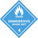 Gefahrgut-Aufkleber (weiß) Klasse 4.3: Stoffe, die bei Wasserkontakt entzündliche Gase entwickeln