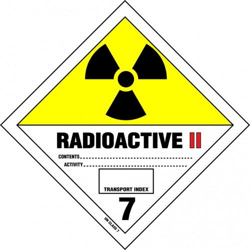Gefahrgut-Aufkleber Klasse 7: Radioaktive Stoffe Kategorie II