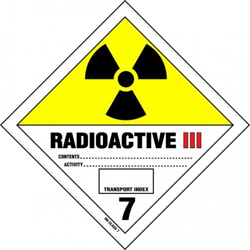 Gefahrgut-Aufkleber Klasse 7: Radioaktive Stoffe Kategorie III