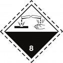 Gefahrgut-Aufkleber Klasse 8: Ätzende Stoffe