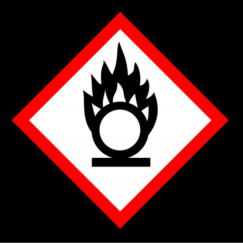 """Gefahrstoff-Piktogramm """"Flamme über einem Kreis"""" GHS03"""