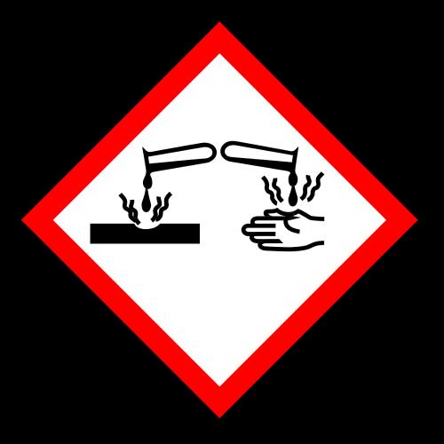 """Gefahrstoff-Piktogramm """"Ätzwirkung"""" GHS05"""