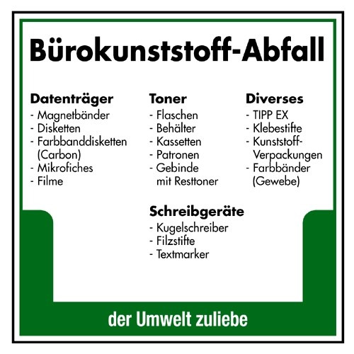 Bürokunststoff-Abfall (Datenträger…, Toner…, Diverses…, Schreibgeräte)