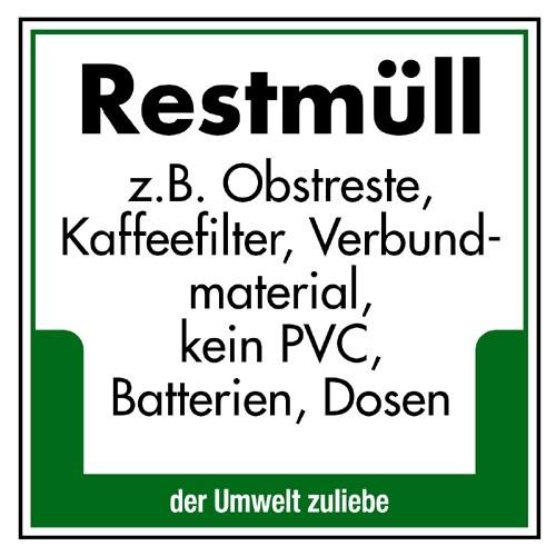 "Umweltschild ""Restmüll z.B. Obstreste, Kaffeefilter, Verbundmaterial, kein PVC, Batterien, Dosen"""