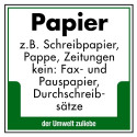 Papier z.B. Schreibpapier, Pappe, Zeitungen. Kein: Fax- und Pauspapier, Durchschreibsätze