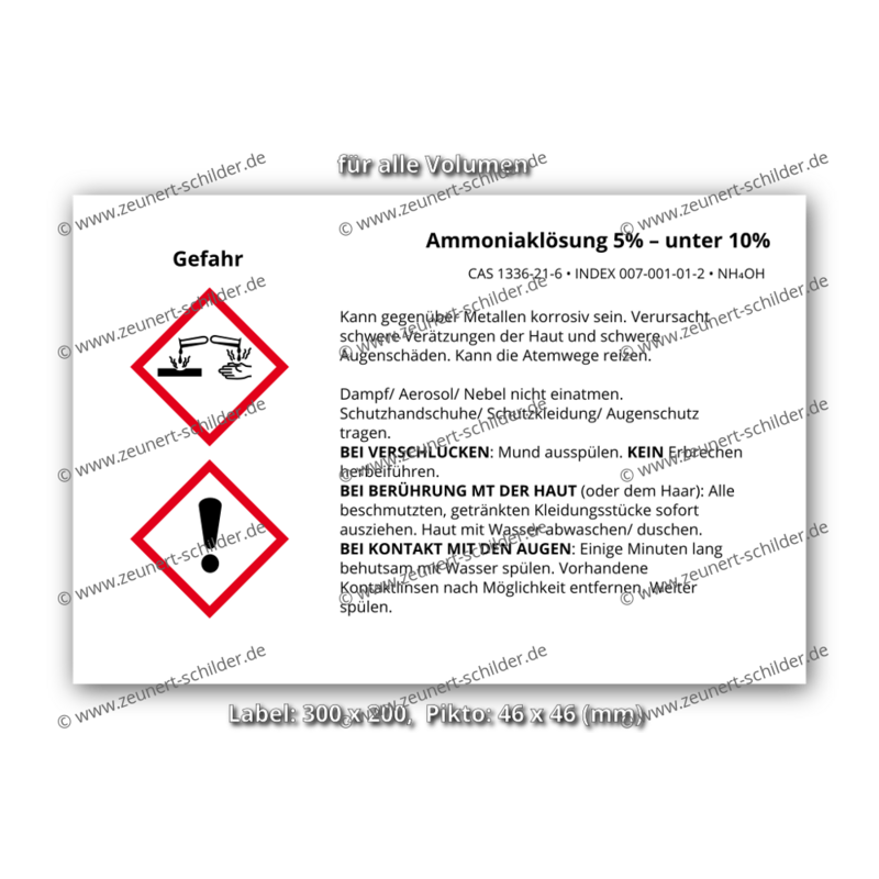 Ammoniaklösung 5% – unter 10%, CAS 1336-21-6