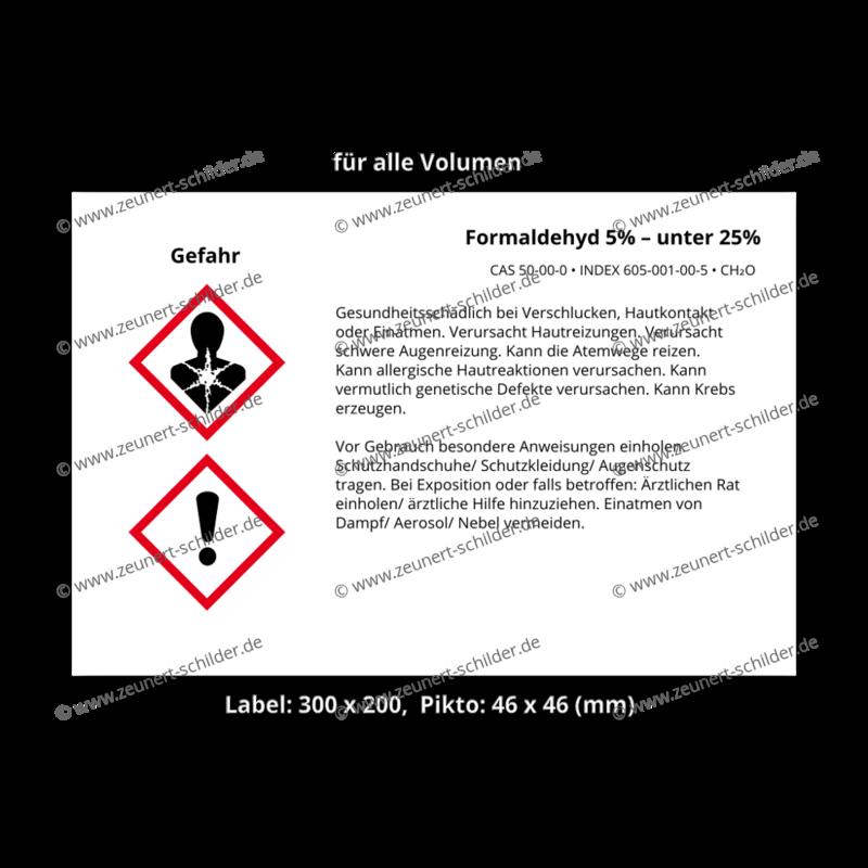 Formaldehyd 5% – unter 25%, CAS 50-00-0