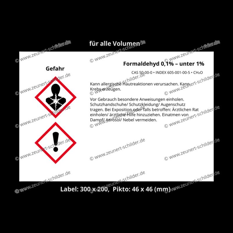 Formaldehyd 0,1% – unter 1%, CAS 50-00-0