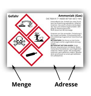 Beispiel für Mengen- und Adressangaben auf einem GHS-Etikett