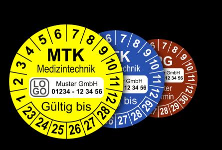 Mehrjahres-Prüfplaketten für Prüfungen in der Medizintechnik MPG, MTK, STK (mit Wunschtext)