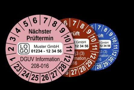 Mehrjahres-Prüfplaketten für Prüfungen von Leitern und Tritten nach DGUV Information 208-016 (mit Wunschtext)