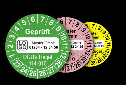 Mehrjahres-Prüfplaketten für Prüfungen von Containern nach DGUV Regel 114-010 (mit Wunschtext)