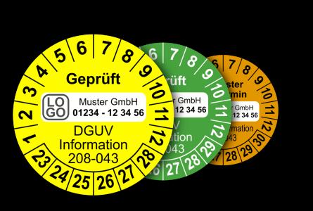 Mehrjahres-Prüfplaketten für Prüfungen der Sicherheit von Regalen nach DGUV Information 208-043 (mit Wunschtext)