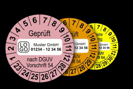 Mehrjahres-Prüfplaketten für Prüfungen von Winden, Hub- und Zuggeräten nach DGUV Vorschrift 54 (mit Wunschtext)