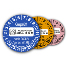Mehrjahres-Prüfplaketten für Prüfungen von Flurförderzeugen nach DGUV Vorschrift 68 (mit Wunschtext)
