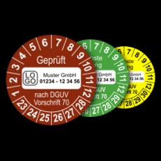 Mehrjahres-Prüfplaketten für Prüfungen von Fahrzeugen nach DGUV Vorschrift 70 (mit Wunschtext)
