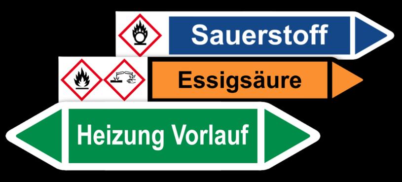 Rohrleitungskennzeichnung auf Bogen