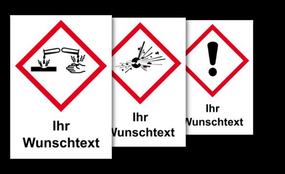 GHS Etiketten, vereinfachte Kennzeichnung, mit Wunschtext