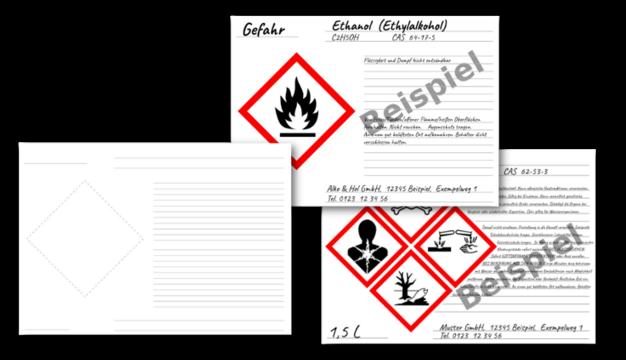 GHS / CLP Gefahrstoff-Etiketten zum Selbstbeschriften