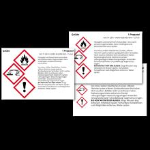 Fertige GHS / CLP Gefahrstoff-Etiketten mit Stoffangabe