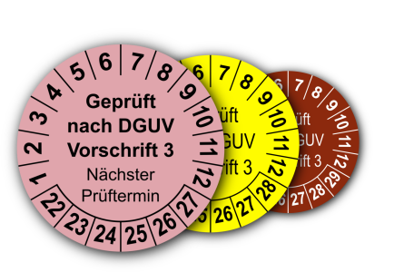 Mehrjahres-Prüfplaketten für Prüfungen nach DGUV Vorschrift 3