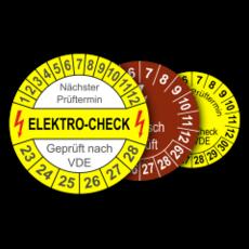 Mehrjahres-Prüfplaketten für den Elektro-Bereich, für Prüfungen nach VDE