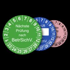 Mehrjahres-Prüfplaketten für Prüfungen nach der Betriebssicherheitsverordnung BetrSichV.
