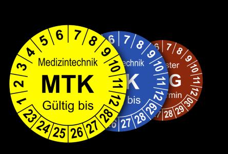 Mehrjahres-Prüfplaketten für Prüfungen in der Medizintechnik MPG, MTK, STK