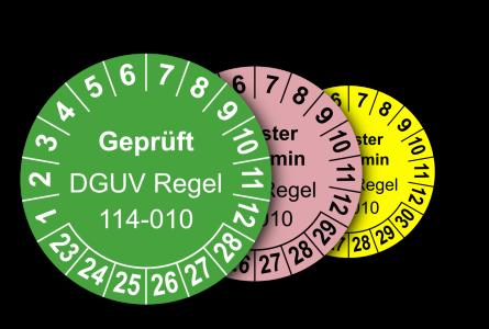 Mehrjahres-Prüfplaketten für Prüfungen von Containern nach DGUV Regel 114-010