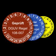 Mehrjahres-Prüfplaketten für Prüfungen von Lagereinrichtungen und Lagergeräten nach DGUV Regel 108-007