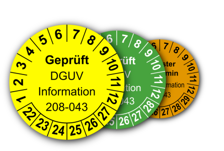 Mehrjahres-Prüfplaketten für Prüfungen der Sicherheit von Regalen nach DGUV Information 208-043