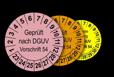 Mehrjahres-Prüfplaketten für Prüfungen von Winden, Hub- und Zuggeräten nach DGUV Vorschrift 54