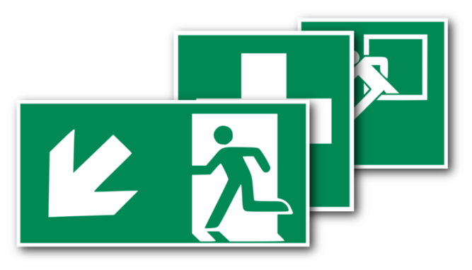 Rettungsschilder nach ASR A1.3, DIN EN ISO 7010