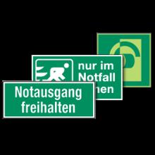 Rettungsschilder in verschiedenen Normen