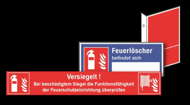 Brandschutzschilder in verschiedenen Normen