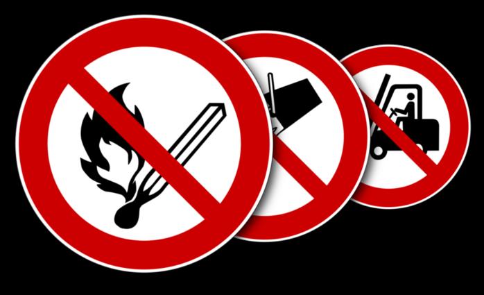 Verbotsschilder nach ASR A 1.3 und DIN EN ISO 7010