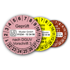 Mehrjahres-Prüfplaketten für Prüfungen nach DGUV Vorschrift 3 (mit Wunschtext)