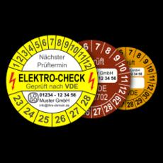 Mehrjahres-Prüfplaketten für den Elektro-Bereich, für Prüfungen nach VDE (mit Wunschtext)