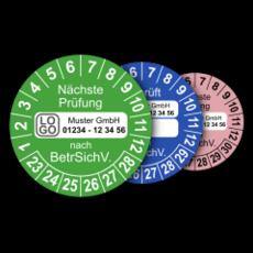 Mehrjahres-Prüfplaketten für Prüfungen nach der Betriebssicherheitsverordnung BetrSichV. (mit Wunschtext)