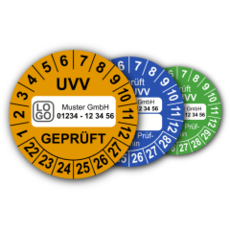 Mehrjahres-Prüfplaketten für Prüfungen nach den Unfallverhütungsvorschriften UVV (mit Wunschtext)